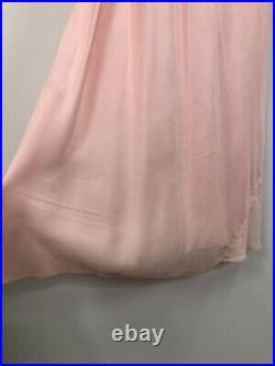 Vintage 40s Bias Cut Pink Lace Slip Dress Nightgown L