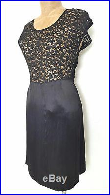Vintage 40s Gatsby Lace Slip Dress Size Small Satin Pinup Cocktail Party Formal