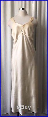 Vintage 40s Silk Satin Ivory Slip /dress M