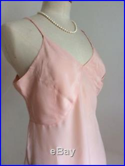 Vintage 40s Slip Peach Silk Lace CC41'Morley' Shift Petticoat Pinup Bombshell
