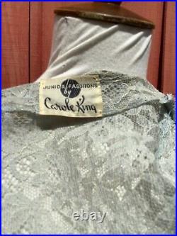 Vintage 40s baby blue lace dress w slip W27