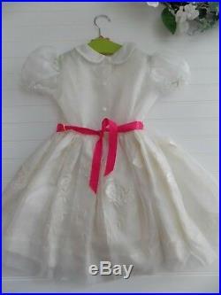 Vintage 50's Girls 4/4T White Sheer Dress & Slip Party Easter Miss Quality Roses