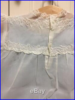 Vintage 50s Baby Sheer Lace With Blue Slip baby Girls Dress Never Worn In Box