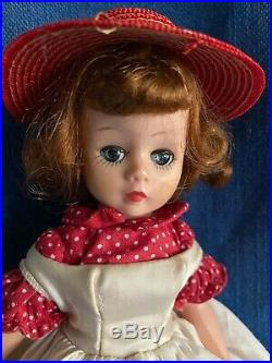 Vintage 50s Cissette Redhead Doll & Tagged Dress Top Slip Hose Red Wicker Hat MA