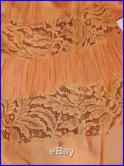 Vintage 50s Custom-Made Formal/Party Satin/Lace Dress withSlip Approx Sz 6 Peach