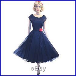 Vintage 50s Navy Sheer Swing Dress & Slip Set S Party Full Skirt 40s New Look NY