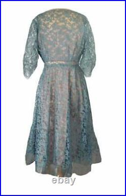 Vintage 50s Party Dress & Slip Gray Blue Lace Belted Cocktail Gown Fit and Flare