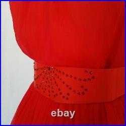 Vintage 50s Red Chiffon Dress with Slip & Belt Joan Barrie