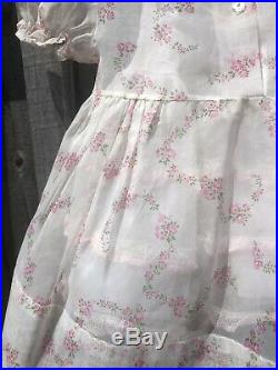 Vintage 50s Sheer Floral Dress Pink Lace 2t 12-18 Months Baby Girl Ruffle Slip