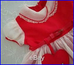 Vintage 50s Toddler Girls Semi Sheer Organdy Party Dress Red Valentines Slip