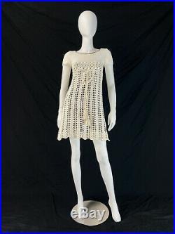 Vintage 60s 70s Crochet Mini Dress with Slip BOHO Mod COTTON Summer XS 0 2 P442