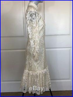 Vintage 60s 70s Ivory Boho Wedding Slip Lace L/S DropWaist Prairie Mini Dress H1