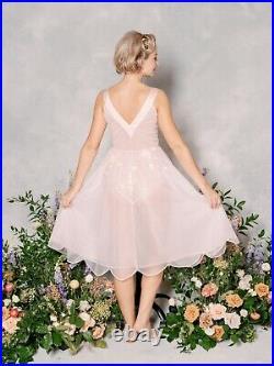Vintage 60s 70s Sheer Pink Lace Nightgown Lingerie Slip Dress Boudoir Wedding