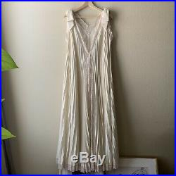 Vintage 60s Lucie Ann Slip Dress Gown And Piegnoir Robe Set Pleated Ivory