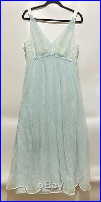 Vintage 70's Vanity Fair Blue Floral Slip Dress Nightgown Long Lingerie Size 36