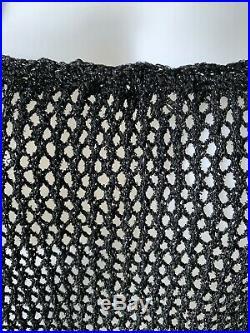 Vintage 70s Black Metallic Crochet Slip Dress M/L