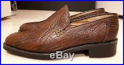 Vintage 70s Brown Sharkskin Norton Slip On Loafers Shoes LIKE NEW Sz 6.5