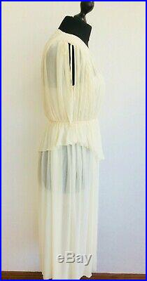 Vintage 70s Nude Sunshine Yellow Pleated Grecian Maxi Two-piece Slip S 8-10