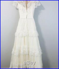 Vintage 70s Wedding Dress White Lace High Neck Crinoline Petticoat Slip Small