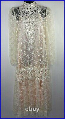 Vintage 80's Jessica McClintock Dress Sheer Edwardian Lace with Slip Size 10