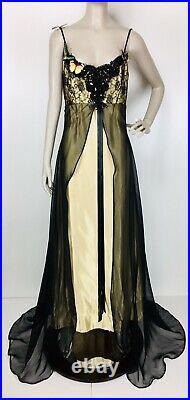 Vintage 80's Loralie Metallic Gold Slip Dress Chiffon Overlay Butterflies Size 8