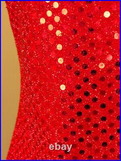 Vintage 80s 90s GRUNGE Dress S Small Prom Cocktail Party RED SEQUIN Mini Slip