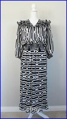 Vintage 80s DIANE FREIS Georgette Black & White Striped Dress, M/L NO SLIP