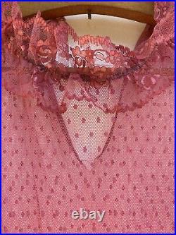 Vintage 80s Mesh Polka Dot Sheer Lace Dress Slip Wedding Maxi Pink