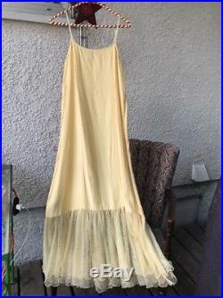 Vintage 90's Romantic Festival April Cornell Pale Yellow Crinoline Slip Dress S