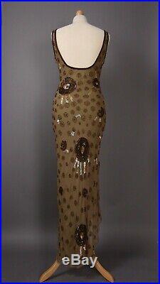 Vintage 90s 1990s Aftershock Sequin Beaded Dress Pure Silk Slip Mini Y2K 8/10