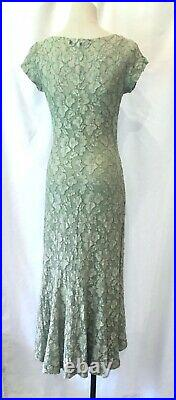 Vintage 90s 1990s BETSEY JOHNSON Sage Green Lace Dress with Slip S / 4 5