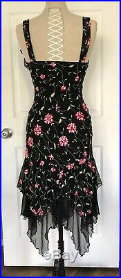 Vintage 90s Betsey Johnson Embroidered Chiffon Slip Dress Ruffle Floral Vine Bow