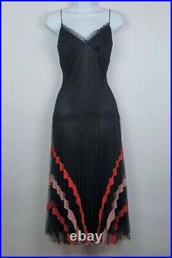 Vintage 90s Betsey Johnson Fishnet Slip Dress Chevron Lace Goth Grunge Punk Sz 6