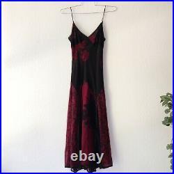 Vintage 90s Betsey Johnson New York Black & Red Floral Silk Slip Midi Dress 2 XS
