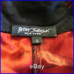 Vintage 90s Betsey Johnson New York Lace Satin Stretch Slip Dress Grunge Red