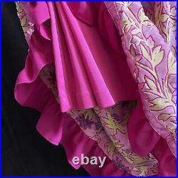 Vintage 90s Betsey Johnson New York Pastel Pink Velvet Floral Midi Slip Dress S