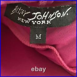 Vintage 90s Betsey Johnson New York Pink & Black Animal Print Silk Slip Dress M
