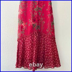 Vintage 90s Betsey Johnson New York Red Floral Silk Chiffon Midi Slip Dress 2 XS