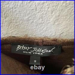 Vintage 90s Betsey Johnson New York Tiger Print Snake Skin Slip Dress S Brown