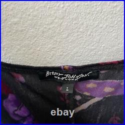 Vintage 90s Betsey Johnson New York Velvet Mini Slip Dress M L Goth Grunge Black
