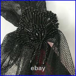 Vintage 90s Betsey Johnson Sheer Black Polka Dot Shimmer Slip Dress Size 10 P
