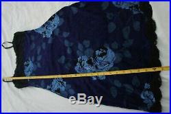 Vintage 90s Betsey Johnson Velvet stretch black Blue Rose Slip Dress 1990s S