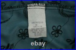 Vintage 90s Betsey Johnson nylon stretch Teal black Slip Dress 1990s Small S