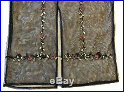 Vintage 90s Black Mesh Beaded Slip Dress Roses Vines Goth Grunge Boho Edwardian