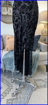 Vintage 90s Cache Black Bias Cut Floral Velvet Slip Asymmetrical Dress