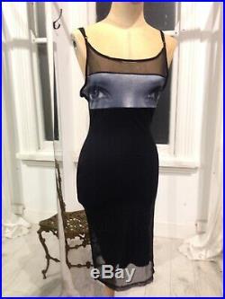 Vintage 90s Club Slip Dress W Eyes Sheer Black Mini Dress XS Size AU6/8 US 2/4