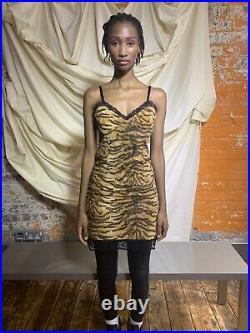 Vintage 90s D&G Tiger Print Slip Dress Soft Faux Fur Lace Y2K Dolce & Gabbana