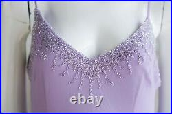 Vintage 90s Lavender Chiffon Slip Bia Cut beaded Sexy Midi Dress Small