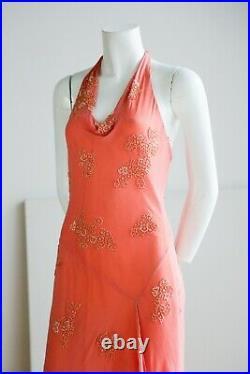Vintage 90s Silk Bias Cut Beaded Asymmetrical Hem Peach Pink Sexy Slip Dress XS
