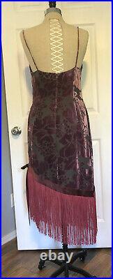 Vintage 90s Silk Velvet Burnout Slip Dress Stevie Nicks Boho Fringe 1920s 12
